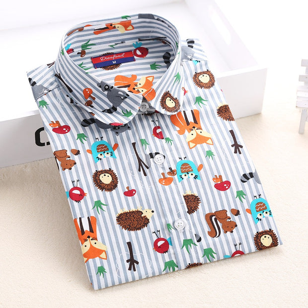 Newest Plus Size Shirt Women Animal Cotton Blouse Fashion Long