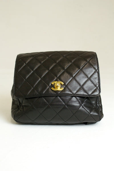 Chanel Vintage Quilted Lambskin Backpack 18k gold plate hardware