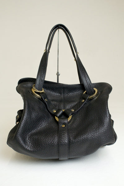 Jimmy Choo Black Leather Hobo Shoulder Bag