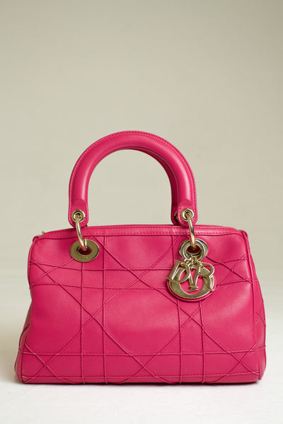 Dior Pink Leather Cannage Granville Polochon Handbag