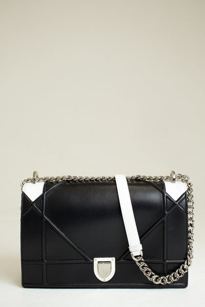 Dior Black and White Diorama Pyton Handbag