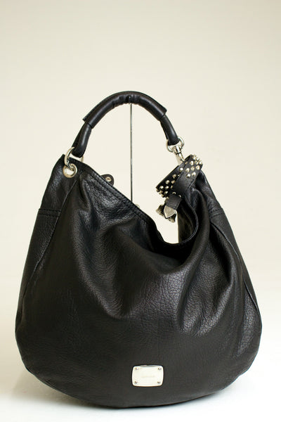 Jimmy Choo Black Leather Sky Bracelet Hobo Bag