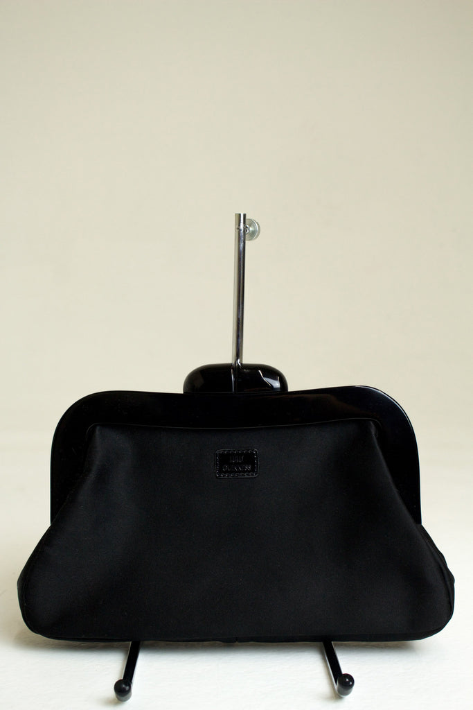 Lulu Guiness Black Canvas Clutch with Oversized Clasp