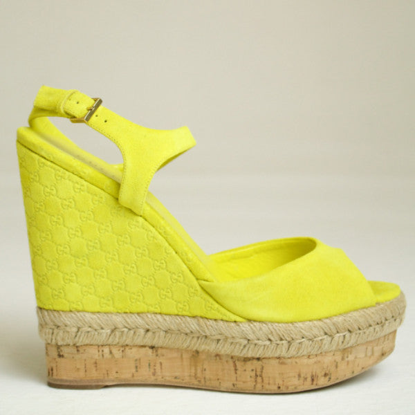 Gucci Hollie Lime Suede Cork Wedge Sandal Size EU 37.5
