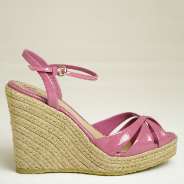 Gucci Pink Penelope Guccissima Wedge Sandal Size EU 38