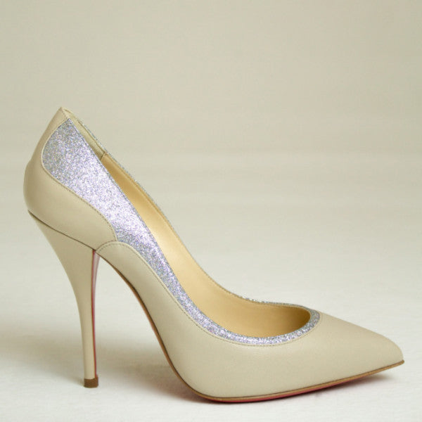 Christian Louboutin Nude Tucsy 100 Glitter Nude Pump Size US 7.5