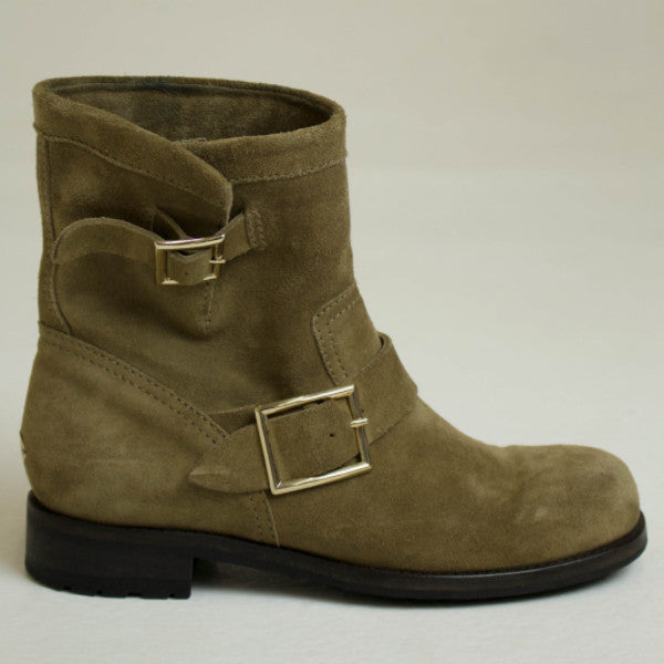 Jimmy Choo Brown Suede Youth Biker Boot Size EU 37