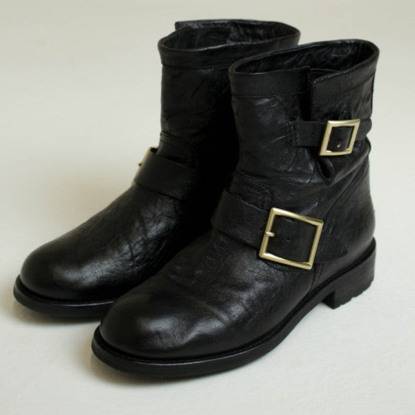 Jimmy Choo Black Leather Youth Biker Boot Size EU 36.5