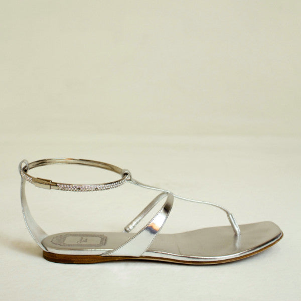 Dior Silver Thongs Sandal with Semi Precious Stone Size US 7 EU 37.5