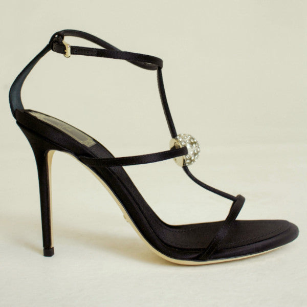 Dior Black Satin Astre Sandal with Glass Bauble Size US 7 EU 38