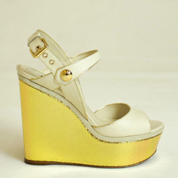 Louis Vuitton Cream Leather Liner Wedge Sandal