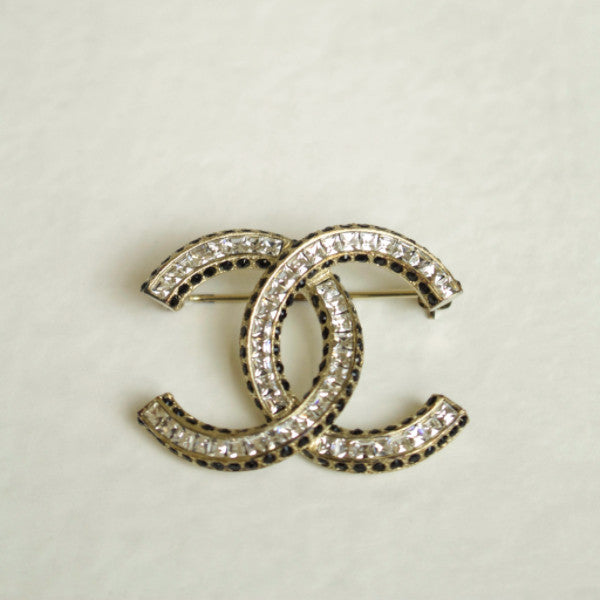Chanel Dore Noir Gold Tone Crystal Brooch Pin