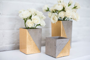 Square Concrete & Gold Planter