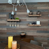The LOW RISER: Low Profile Floating Look Rustic Wood Wine Rack & Shelf