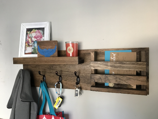 The JEN: Entryway Organizer, Rustic Modern Wood Shelf, Coat Rack, Mail Organizer