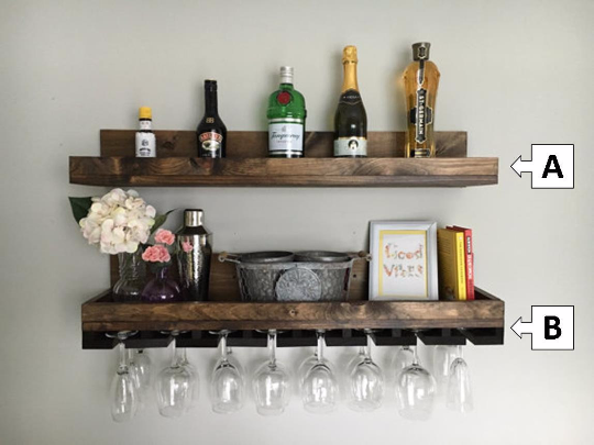 The RYAN: Rustic Wood Wine Rack & Shelf