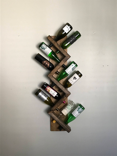 The ZIGGY-ZAG: Wall Mounted Geometric Wood Wine Bottle Rack