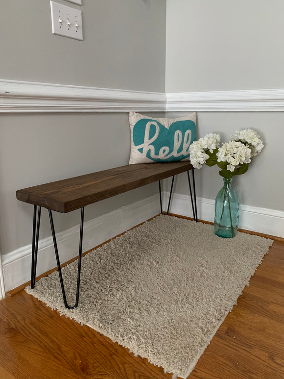 Hairpin Leg Bench | Rustic Modern Coffee Table Side End Sofa Table Nightstand Farmhouse Entryway Bench Mid Century Console Industrial Urban