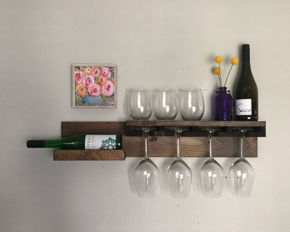 The KAITLYN: Rustic Wood Wall Mounted Shelf, Wine Rack, and Stemware Organizer