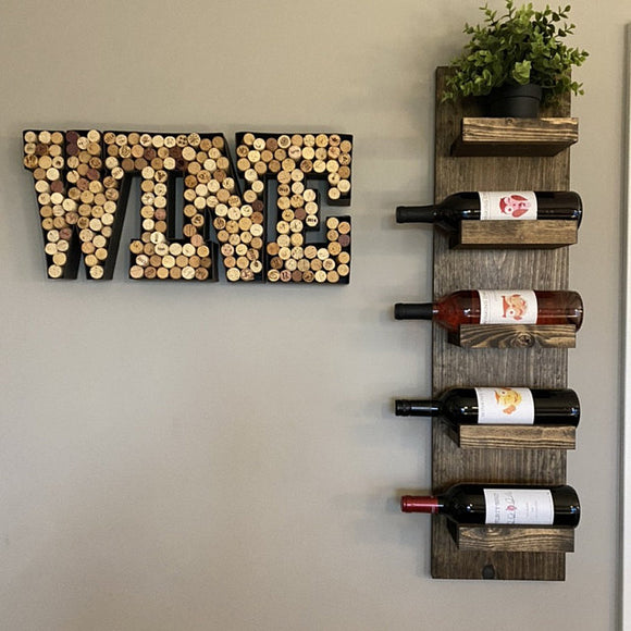 The STEVEN: Wall Mounted Wood Wine Bottle Holder Rack Shelf