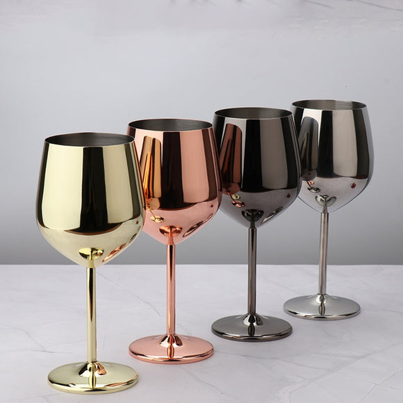 Shatterproof Wine Glasses 304 Stainless Steel Red Wine Goblets, 500ml Food Grade Juice Drink Goblet Party Barware Kitchen Tools