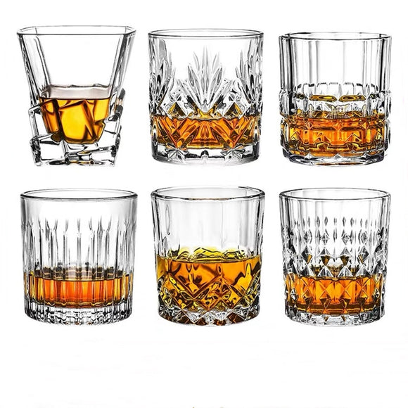 Wine Glasses Vodka Cup Barware Old Fashion 300ml Engraved Diamond Crystal Whiskey Glass Tumbler Hotel Restaurant Water Glasses