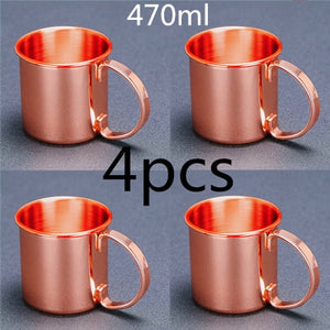 4pcs 550ml 18 Ounces Hammered Copper Plated Moscow Mule Mug Beer Cup Coffee Cup Mug Copper Plated Bar Tool
