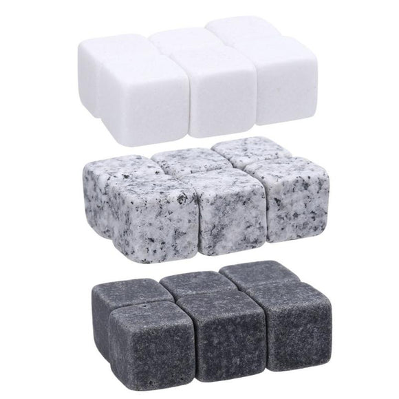6pcs Reusable Whisky Stones Ice Cubes Set Wine Cooling Cube Chilling Rock Party Wedding Wine Cooler Kitchen Bar Barware