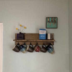 The CHS: Coffee Hook Shelf, Coffee Mug Rack, Tea Cup Rack, Coffee Shelf, Coffee Bar