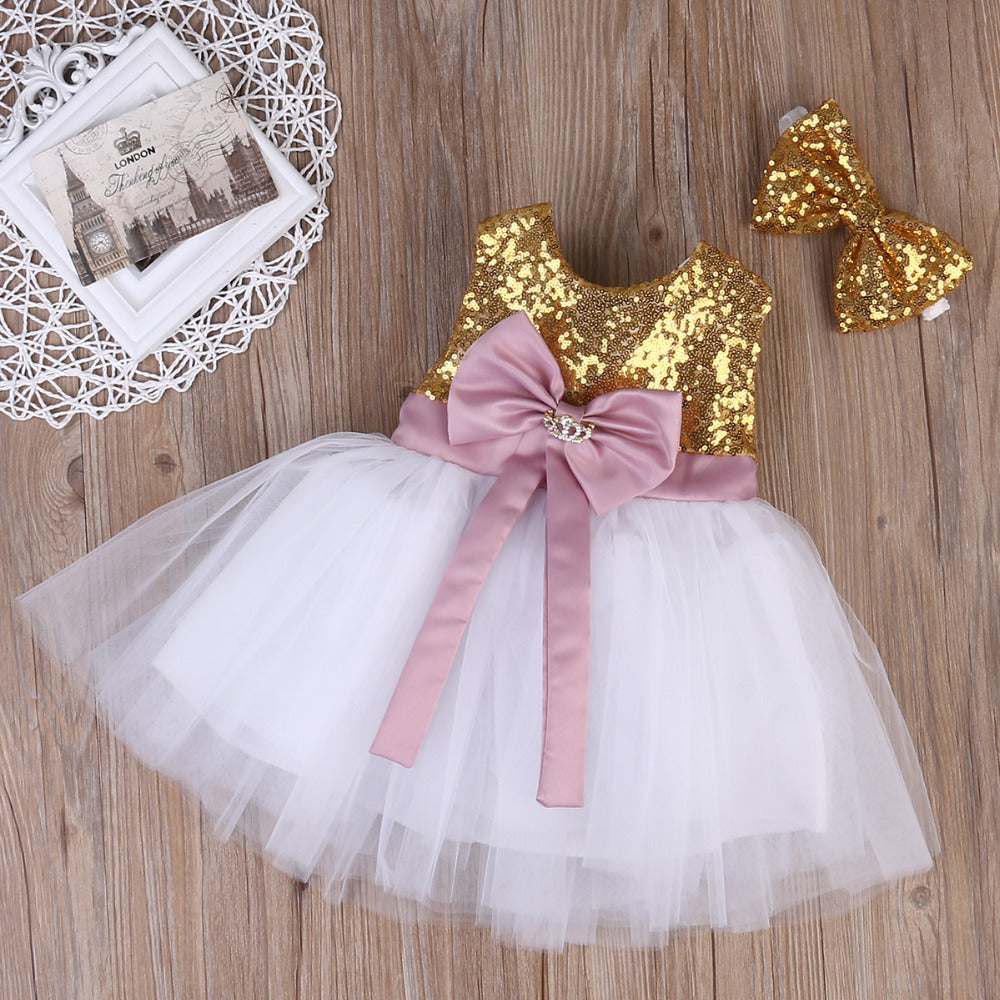 Sequin Bow Knot Dress and Matching Hair Bow