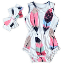 Feather Weight Romper and Matching Headband