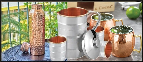 Copper Water Bottles, Jugs and glasses