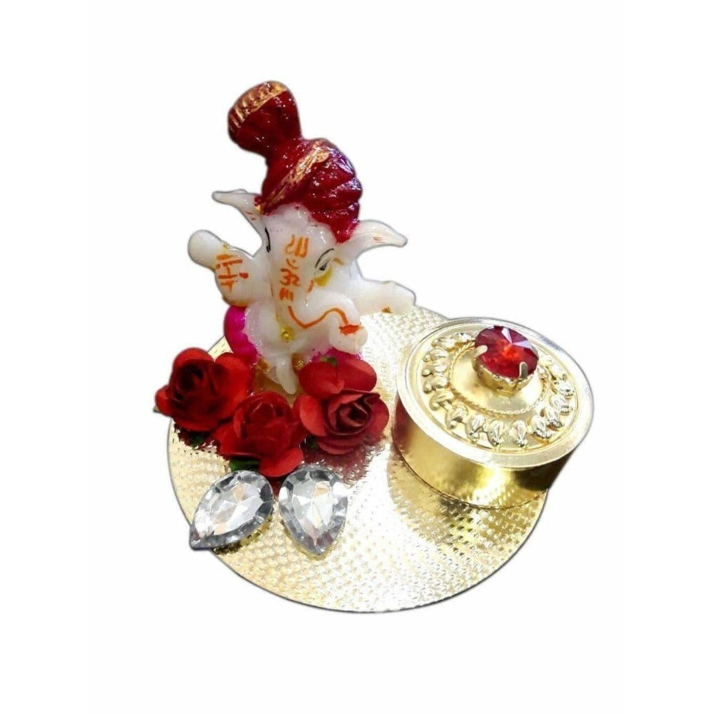 Ganesha Kumkum Holder With Kundans - Dista Cart