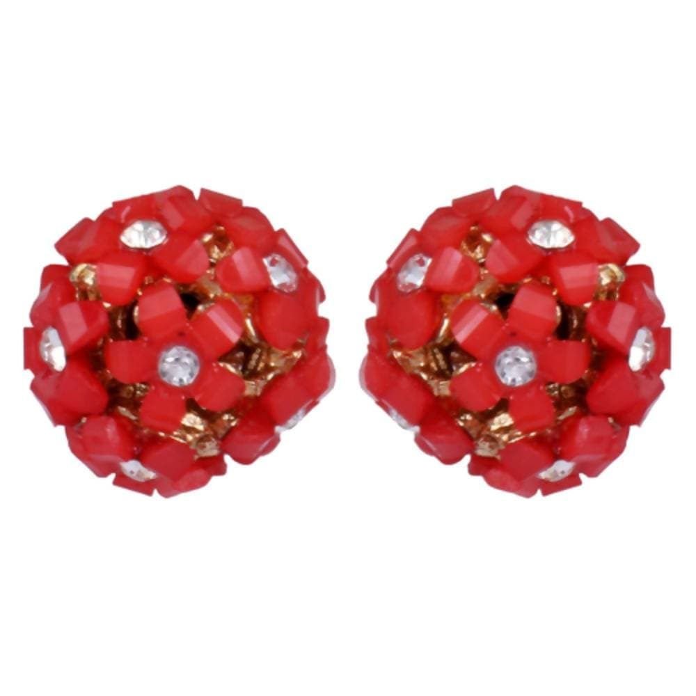 Trendoo Jewelry Gold Plated Stylish Fancy Party Wear Red Studs
