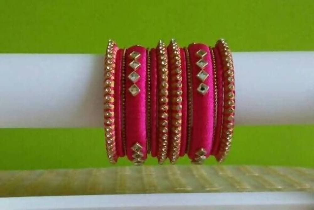 Pink Color with Diamond Shape Stone Silk Threaded Bangles Set of 2