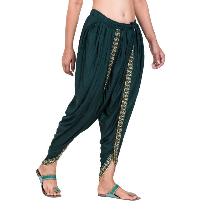 Asmaani Dark Green color Dhoti Patiala with Embellished Border