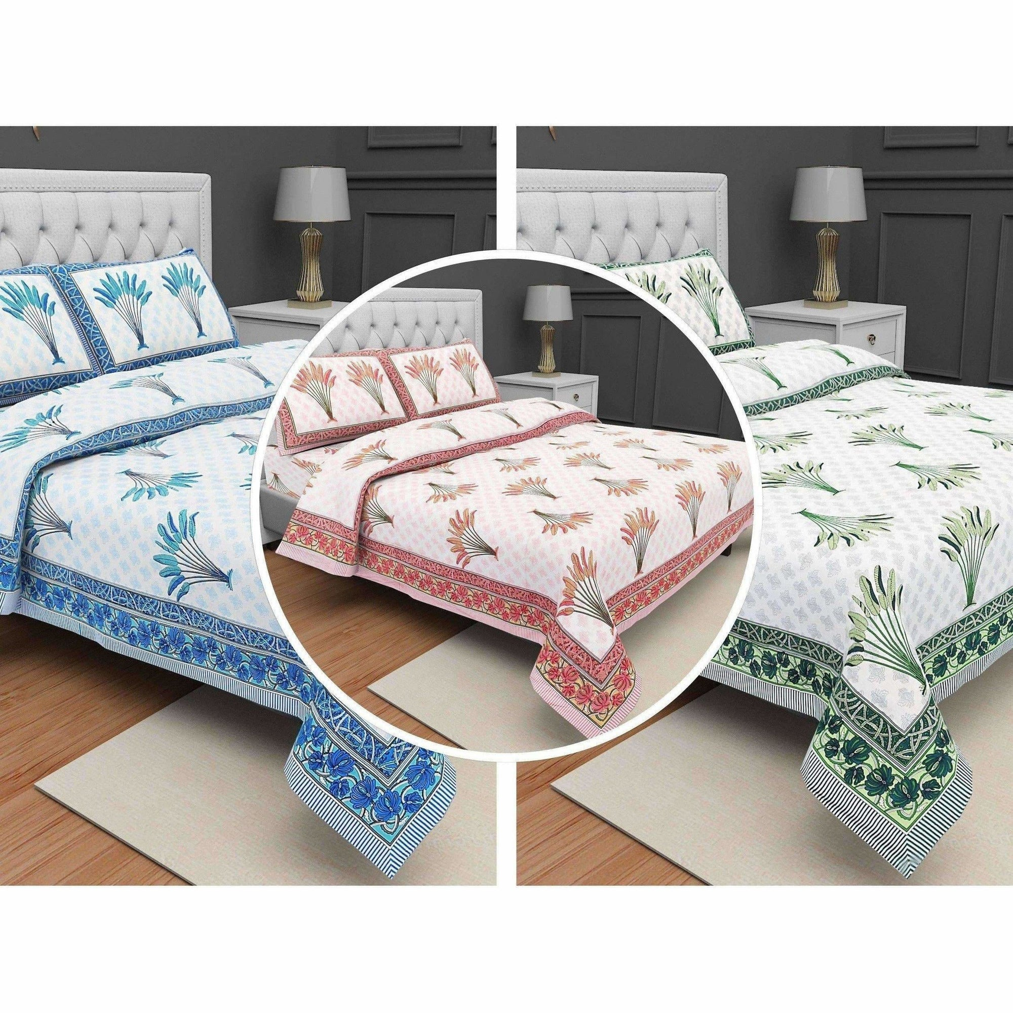 Jaipuri Hand Block Printed Traditional 144TC Cotton Double/Queen Bedsheet with 2 Pillow Covers