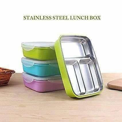 Portable Stainless Steel Food Container 3 Compartments Lunch Box