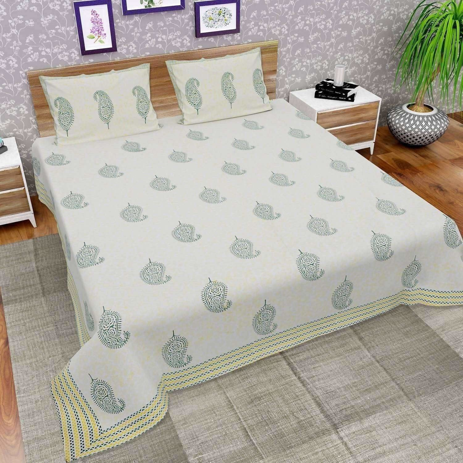Hand Block Printed Double/Queen 230x270 Cms Bedsheet with 2 Pillow Covers