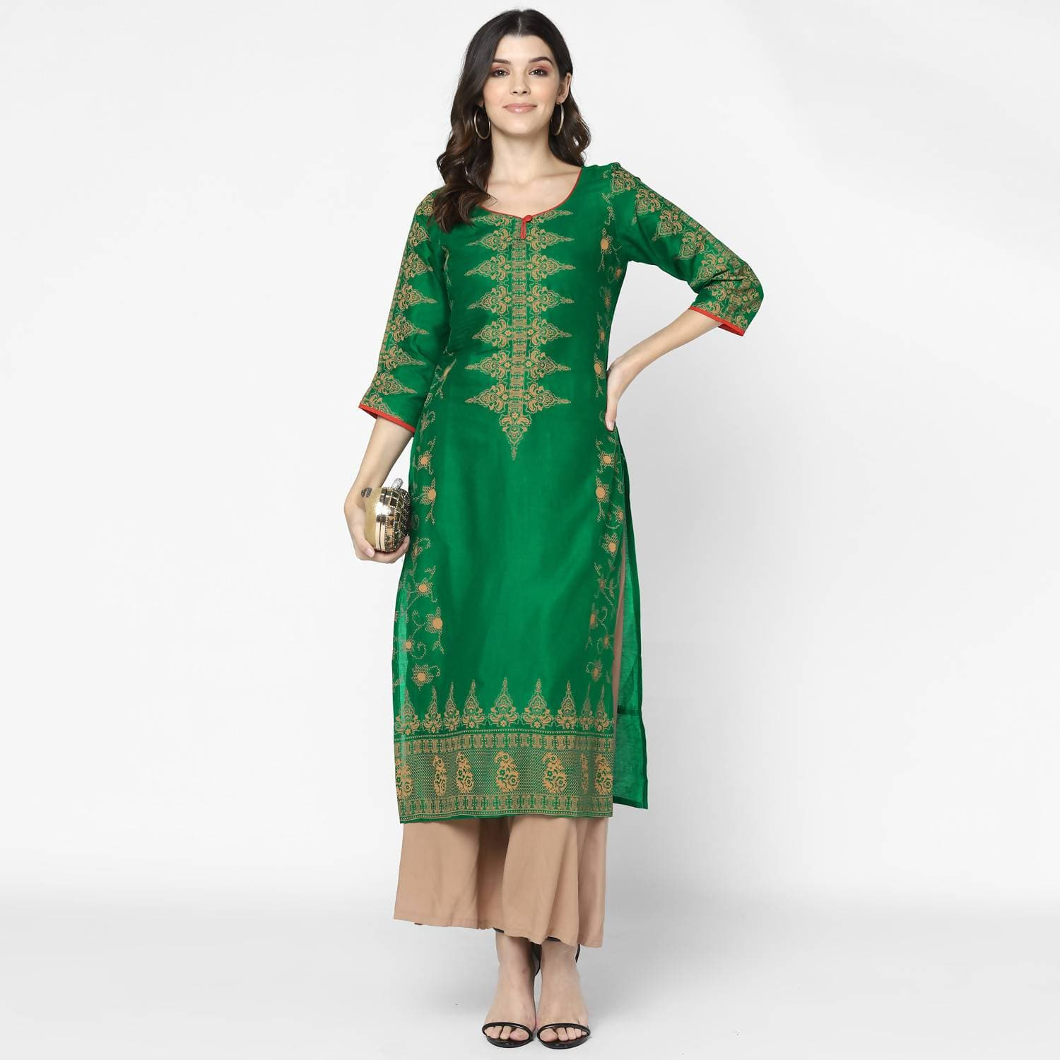 Cheera Hand Block Print Bottle Green & Skin Color Straight Kurta With Palazzo (MAAI-091K)