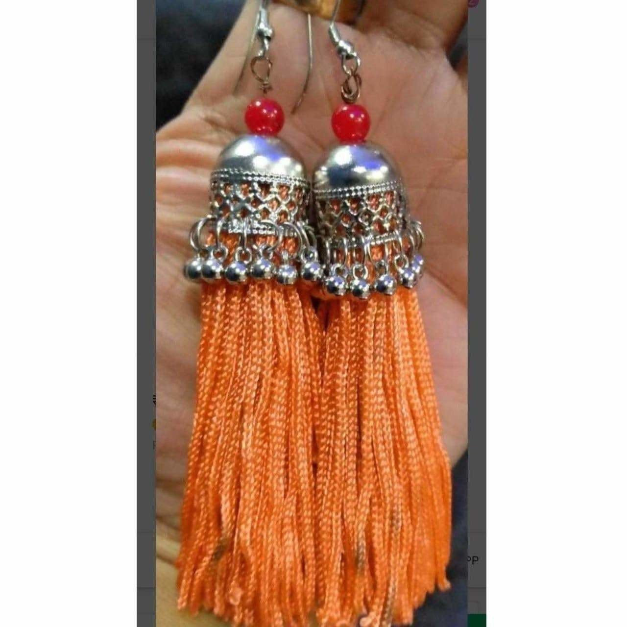Latest Fashion Orange Hanging Threads In Jhumka Earrings
