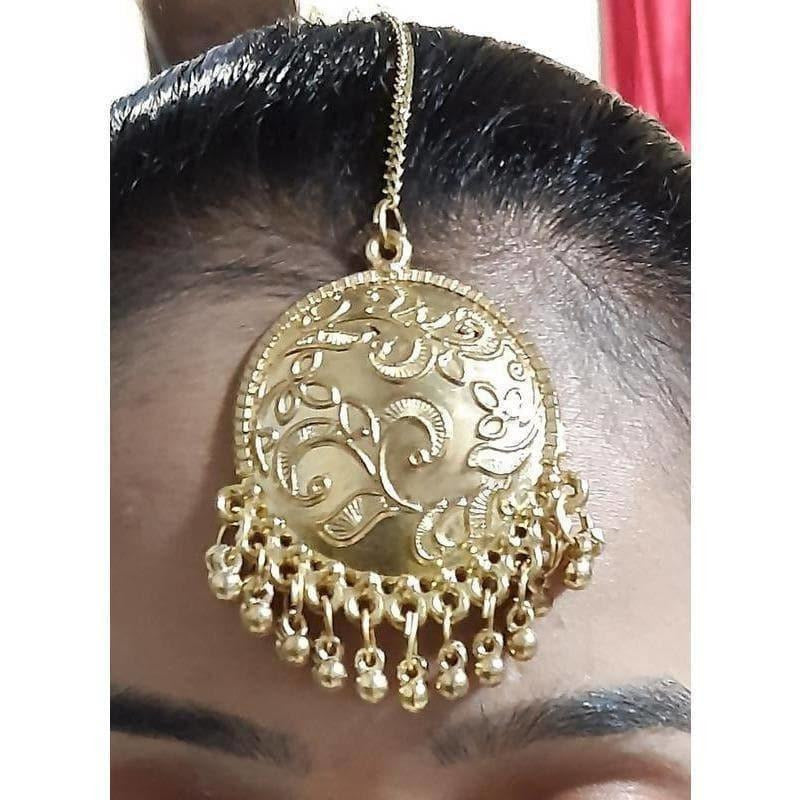 Artificial Gold Plated Drops Chandbali Maang Tikka