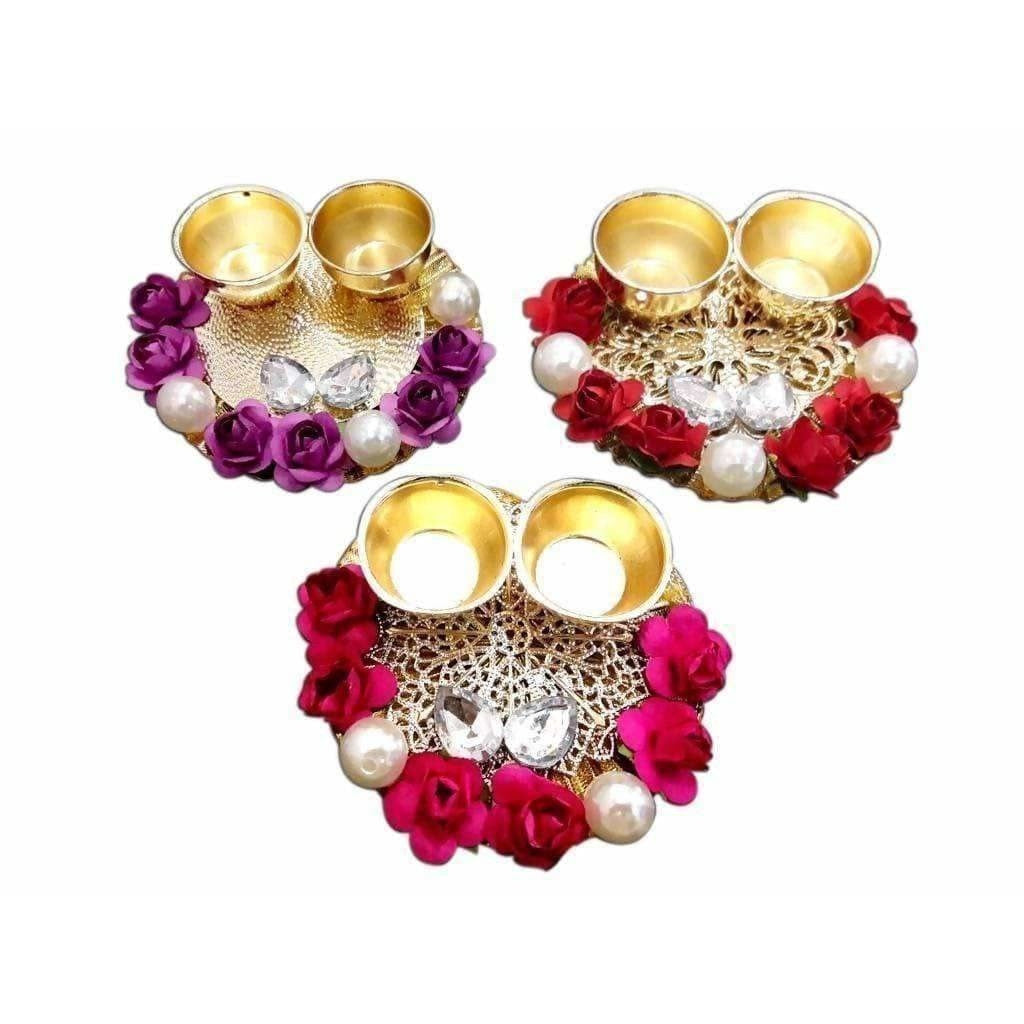 Fancy Haldi Kumkum Holders with Roses and Pearls - 1 Piece