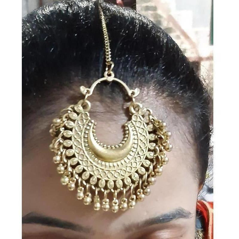 Half Moon Gold Plated Simple Design Maang Tikka