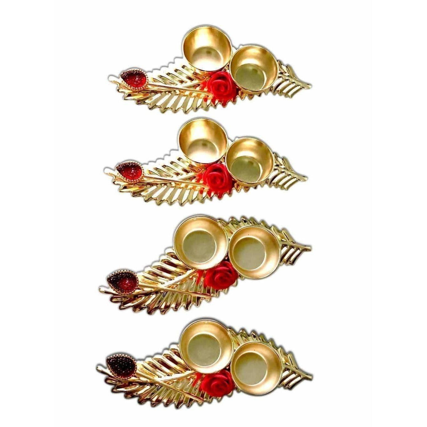 Leaf Shaped Haldi Kumkum Holder - 1 Piece
