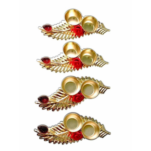 Leaf Shaped Haldi Kumkum Holder - 1 Piece - Dista Cart