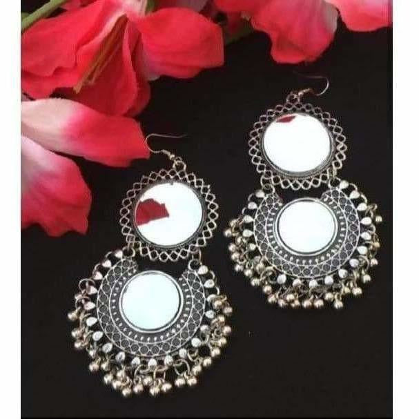 Oxidised Mirror Earrings With Drops