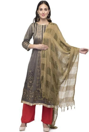 A R Silk Women's Cotton Window Check Mehndi Green Regular Dupatta