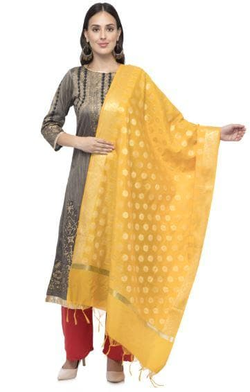 A R Silk Women's Chanderi Zari Embroidery Yellow Fancy Dupatta