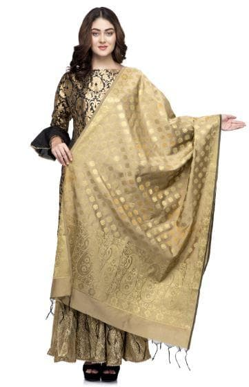 A R Silk Women's Vanarsi Silk Zari Embroidery Copper Golden Fancy Dupatta